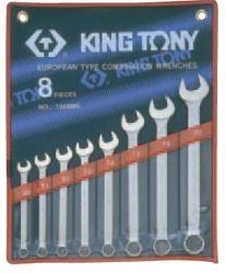 Kpl. kluczy płasko-oczkowych  8cz.  10  -22mm,  ETUI