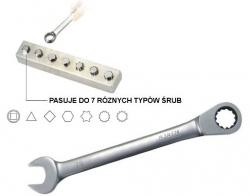 Klucz płasko-oczkowy Super-Tech z grzechotką 72z.