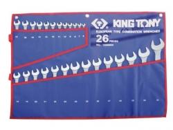 Kpl. kluczy płasko-oczkowych 26cz.  6 - 32mm,  ETUI