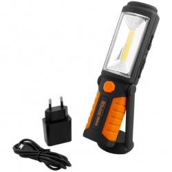 Lampa aku. LED 3W + 5 LED, USB uchylna, magnetyczna podstawa RICHMANN
