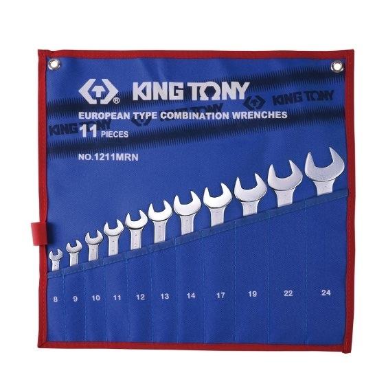 Kpl. kluczy płasko-oczkowych 11cz.  8 - 24mm,  ETUI